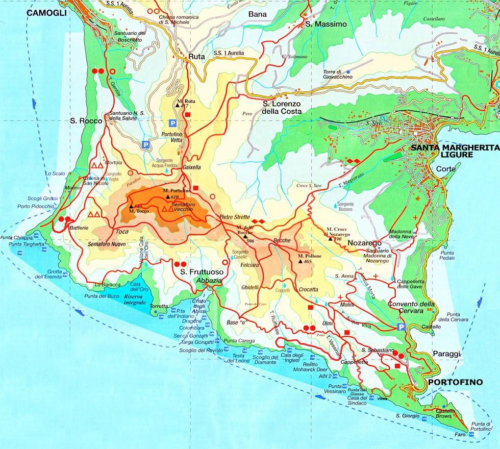 carte de randonnée sur la presqu'île de Portofino